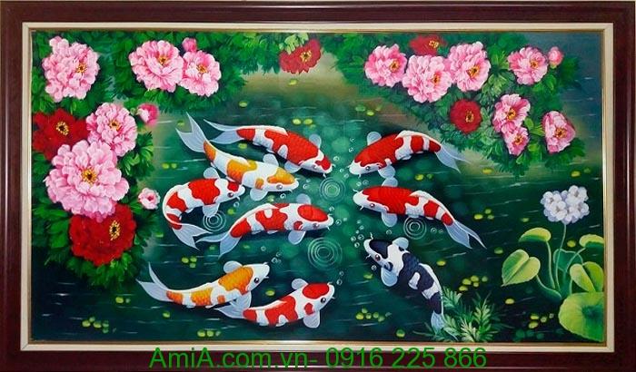 Hinh anh dep tranh phong thuy ve son dau ca chep hoa mau don AmiA TSD189